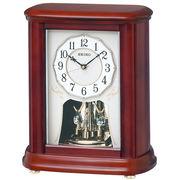 SEIKO セイコー 置き時計 電波 アナログ 回転飾り 木枠 茶木地 BY242B