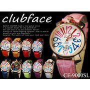 革バンド ドレスウォッチ マルチカラー ビッグフェイス◇-clubface-レディース腕時計 CF-9000SL