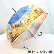 【雨傘】【長傘】【ビニール傘】58cmPOE雨上りの街並み柄ビニールジャンプ傘
