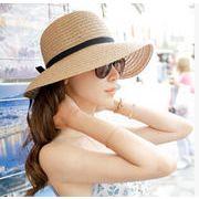 ★2019春夏新作★ 麦わら帽子 日除け帽 シンプル UVカット 麦わらハット 帽子 リボン