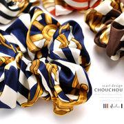▼MAGGIO▼【定番人気のスカーフ柄】上質な大人コーデに魅せてくれる♪ スカーフ柄シュシュ