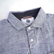 【値下げ】麻ボーダー フェイクプルオーバー ホリゾンタルカラー 長袖シャツ【割引併用不可】