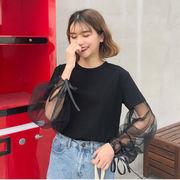春 韓国風 新品 メッシュ ランタンスリーブ + ひもあり 丸襟 シャツ ルース 着やせ