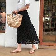 春 新しいデザイン 韓国風 アンティーク調 ポルカドット シフォン スカート ハイウエス