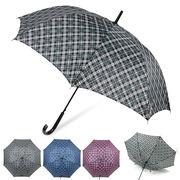 [65cm]傘 紳士 メンズ ジャンプ傘 チェック柄 耐風仕様