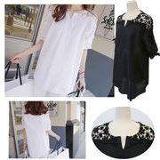 【一部即納】◆SALE!!セール新作透けるフラワーレース5分袖プルオーバーシャツ 大きいサイズ2色 M~5XL/