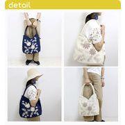 ボタニカル刺繍リネンバッグ