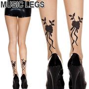 MusicLegs(ミュージックレッグス)バックフラワーシアータトゥーストッキング/タイツ ML7285 tattoo