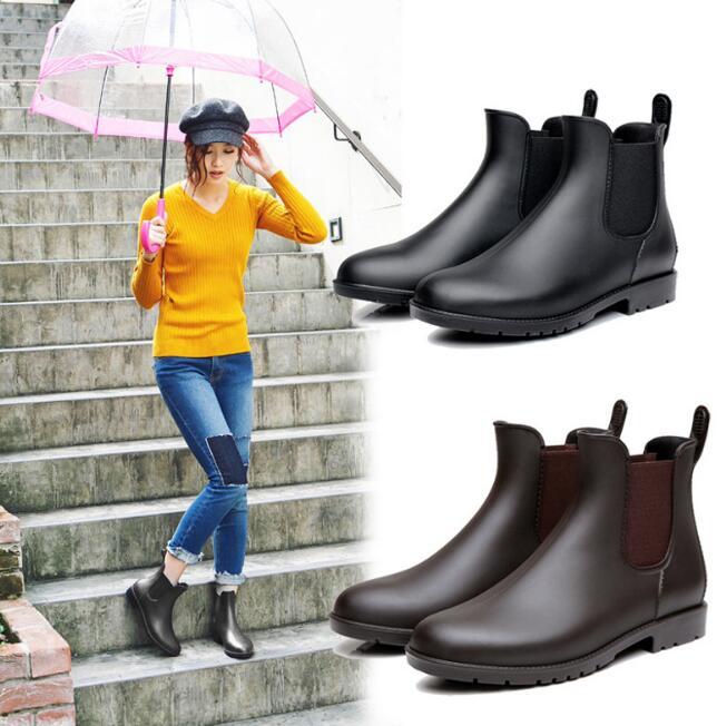 レインブーツ 男女兼用 靴 防水 梅雨対策 220-268mm ブラック/ブラウン ファッション