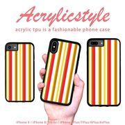 iPhone 7 8 X ケース ストライプ 暖色 赤 黄色