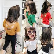 女児 夏服 半袖 ボトムシャツ 児童 赤ちゃん バッククロス シャツ 韓国風 レジャー