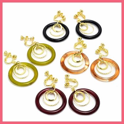 メタル&カラーわっかのイヤリング