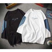 春夏新作メンズTシャツ 大きいサイズトップス おしゃれ キレイ目 カジュアル♪ブラック/ホワイト2色