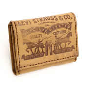 Levi's リーバイス ロゴ 軽量3つ折り牛革財布 コニャック色 USA直輸入モデル 31LV1179
