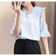 【大きいサイズXL-5XL】ファッショントップス♪ホワイト/ピンク/ライトブルー3色展開◆