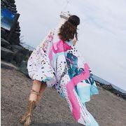 レディース 夏用ポンチョ ケープ カラフル 花 海 ビーチ スカーフ