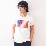 2018SS 星条旗 プリント 半袖 アメリカ国旗 トリコロール Tシャツ メンズ レディース