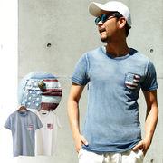 【2018SS新作】 メンズ コンチョ釦 ポケット星条旗Tシャツ