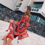 レディース 夏用ポンチョ ケープ エスニック風 花 海 ビーチ