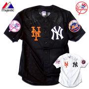 ★レイヤードで更にオシャレに!!★ヤンキースとメッツのワッペン刺繍入りメッシュベースボールシャツ★