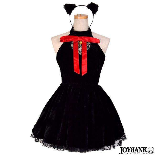 halloween sale・[8mm]黒猫ギャザーワンピース ブラックキャット コスチューム 衣装
