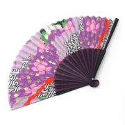 <ファッション雑貨><和雑貨・和土産>高級シルク扇子 2色骨 和柄扇子 紫 No.504-323