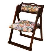 [販売終了] 折畳み 和風椅子 花柄 和室 コンパクト 耐荷重80kg 完成品