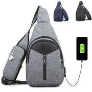 【一部即納】モバイルバッテリー内臓ボディバッグ 便利 ガジェットバッグ 街ロード スマホ 充電バッグ