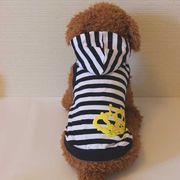 クラウンとボーダーのタンクトップ(ネイビー)(S~XL DM DL)ドッグウェア 犬の服【ルイスペット】