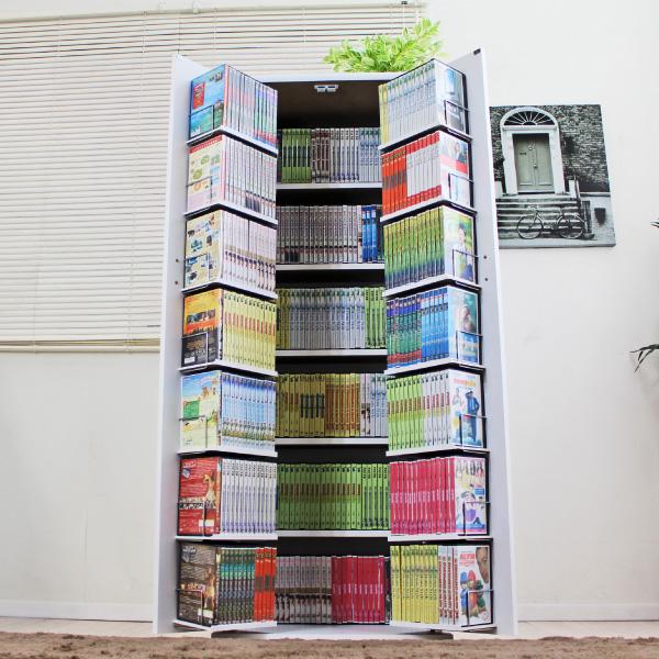 DVDで最大400収納可能DVD・CD・コミック書棚ストッカー収納庫 ホワイト FM103WH