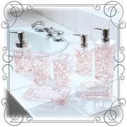 クリア+バラ模様の洗面雑貨 『クリアローズ』 ピンク色