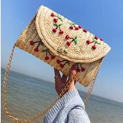 草編み★さくらんぼ カゴバッグ★ポシェット かご編み ショルダーバッグ