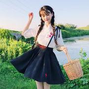 夏服 新しいデザイン 中国 風 刺しゅう 漢 服 シャツ トップス 女子学生 + レジャ