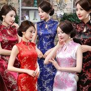 【即日出荷】5色 袖なし ロング丈チャイナドレス コスプレ衣装【1082】