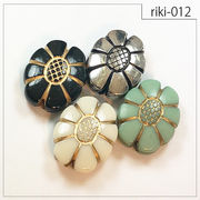 【riki-012】楕円フラワー型 rikiビーズ ヴィンテージ風 モダンビーズ デザイン アクリル