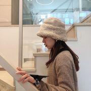 秋冬新作 帽子ハット クロッシェ 防寒 フワフワ ファー もこもこ 無地 あったか 韓国