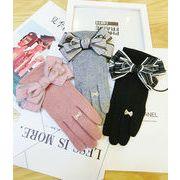 秋冬新作 ウール 手袋 グローブ 防寒 リボン ゼレブ 上品 高級感 可愛い