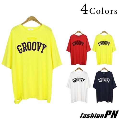 Tシャツ ダメージ加工 ネオンカラー レタリング 五分袖 レディース 大きいサイズ 2018 夏服
