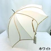 【雨傘】【長傘】花型ヒョウ柄パイピングジャンプ傘