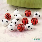 サッカー バスケットボール 樹脂パーツ - 手芸 クラフト 生地 材料   全2色