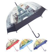 [59cm]可愛いビニール傘 ドーム型 手開き式 PARIS柄 秋冬新作