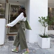 韓国風 アーリー 秋 丸襟 薄いスタイル シンプル 単一色 長袖Tシャツ アーミーグリー