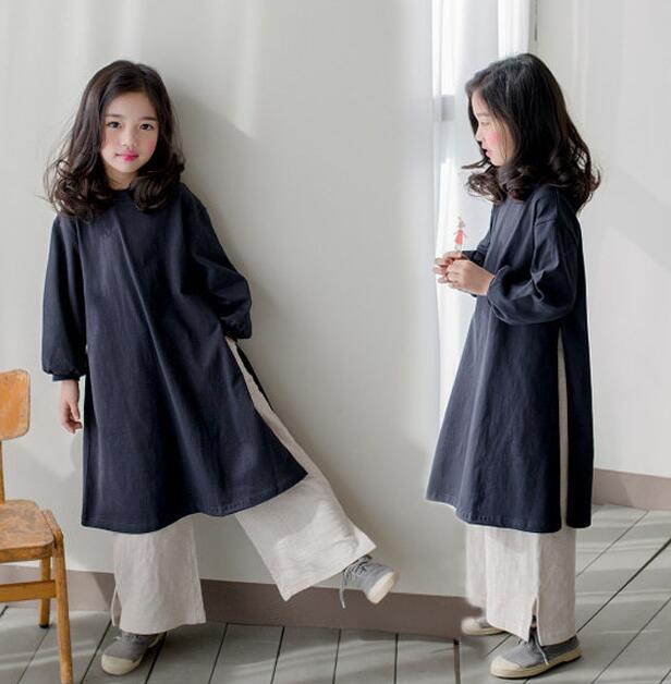 子供Tシャツ パンツ スリット 秋新作 女の子 ファッション カジュアル系 ゆったり ロング丈