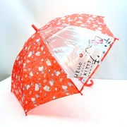 【雨傘】【ジュニア用】1駒ビニールハローキティライフ柄ジャンプ傘