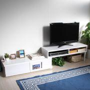 ◎テレビ台 伸縮式 ディスプレイ引出付き TV台 ホワイト SHIN-TV100-WH