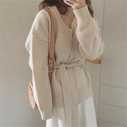 韓国 スタイル ファッション 無地 ゆったり セーター ニット ジャケット スタジャン アウター