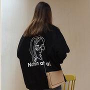 秋冬 新しいデザイン 女性服 韓国風 レターズ プリント ヘッジ 裏起毛 セーター アウ