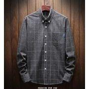 秋冬新作メンズワイシャツ トップスチェック柄 大きいサイズ♪ダークブルー/ネイビー/ダークグレー3色