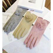 秋冬新品 レディースファッション 手袋 グローブ ファー タッチパネル対応 ウール 防寒