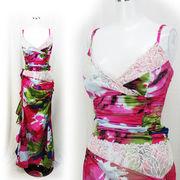 【即納】上下セパレート型 プリント柄 艶サテン 美姿 ロングドレス